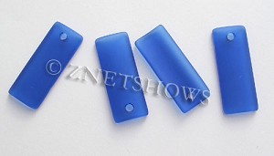 Cultured Sea Glass bottle-curved thin rectangle Pendants  <b>35x14mm</b>  33-Royal Blue    per  <b>6-pc-bag</b>