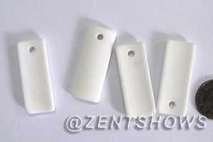 Cultured Sea Glass bottle-curved thin rectangle Pendants  <b>35x14mm</b> 42-Opaque White    per  <b>6-pc-bag</b>