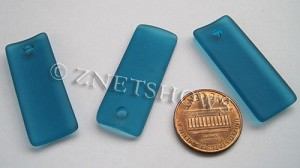 Cultured Sea Glass bottle-curved thin rectangle Pendants  <b>35x14mm</b> 82-Teal    per  <b>6-pc-bag</b>