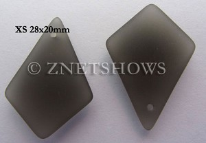 Cultured Sea Glass diamond Pendants  <b>28x20mm</b> 15-Smoky Quartz  earring size  per  <b>12-pc-bag</b>