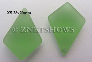 Cultured Sea Glass diamond Pendants  <b>28x20mm</b> 23-Peridot earring size  per  <b>12-pc-bag</b>
