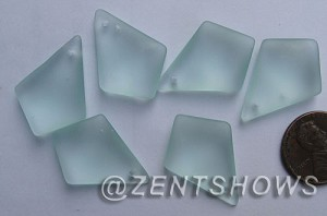 Cultured Sea Glass diamond Pendants  <b>28x20mm</b> 88-Light Aqua `Coke` bottle Seafoam earring size  per  <b>12-pc-bag</b>