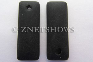 Cultured Sea Glass rectangle puffed Pendants  <b>32x12mm</b> 02-Jet Black    per  <b>8-pc-bag</b>
