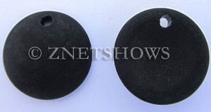 Cultured Sea Glass concaved coin Pendants  <b>25mm</b> 02-Jet Black Bottle bottom style  per  <b>12-pc-bag</b>