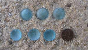 Cultured Sea Glass concaved coin Pendants  <b>18mm</b> 28-Turquoise Bay concaved - earring size   per  <b>6-pc-bag</b>