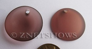 Cultured Sea Glass concaved coin Pendants  <b>25mm</b> 37-Medium Amethyst Bottle bottom style  per  <b>12-pc-bag</b>