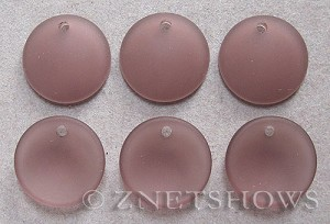 Cultured Sea Glass concaved coin Pendants  <b>18mm</b> 37-Medium Amethyst concaved - earring size   per  <b>6-pc-bag</b>