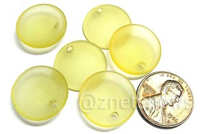 Cultured Sea Glass concaved coin Pendants  <b>18mm</b> 84-Lemon earring size   per  <b>6-pc-bag</b>