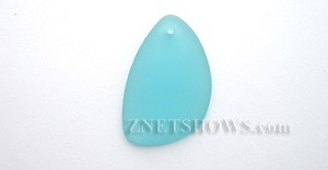 Cultured Sea Glass eclipse Pendants  <b>36x24mm</b>  28-Turquoise Bay teardrop nugget   per  <b>piece</b>
