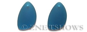 Cultured Sea Glass eclipse Pendants  <b>25x17mm</b> 82-Teal teardrop nugget matching earring right side   per  <b>10-pc-pack</b>