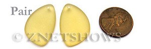 Cultured Sea Glass eclipse Pendants  <b>25x17mm</b> 84-Lemon   per  <b>pair</b>