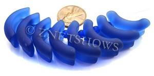 Cultured Sea Glass end-drilled bottle lip-style Pendants  <b>25x13mm</b> 33-Royal Blue    per  <b>8-pc-str</b>