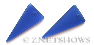 Cultured Sea Glass shield Pendants  <b>48x21mm</b> 33-Royal Blue    per  <b>piece</b>