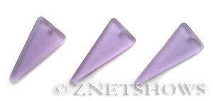 Cultured Sea Glass shield Pendants  <b>37x15mm</b> 39-Periwinkle Changes triangle   per  <b>10-pc-bag</b>