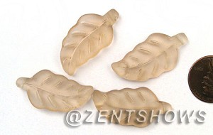 Cultured Sea Glass leaf Pendants  <b>33x17mm</b> 07-Sweet Peach    per  <b>5-pc-bag</b>
