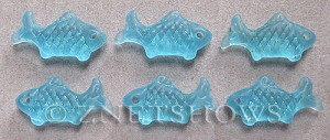 Cultured Sea Glass fish Pendants  <b>24x12mm</b> 28-Turquoise Bay    per  <b>6-pc-bag</b>