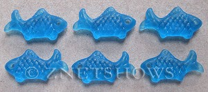 Cultured Sea Glass fish Pendants  <b>24x12mm</b> 30-Pacific Blue    per  <b>6-pc-bag</b>