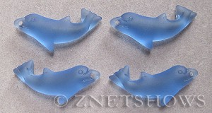 Cultured Sea Glass dolphin Pendants  <b>36x14mm</b> 31-Light Sapphire    per  <b>4-pc-bag</b>