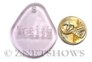 Cultured Sea Glass engraved Pendants  <b>35x30mm</b> 06-Blossom Pink flat freeform shape engraved or etched inspirational characters with `health`   per  <b>1-pc-bag</b>