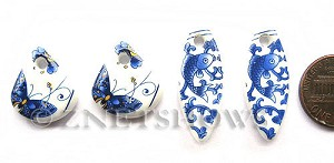 Cultured Sea Glass designer-set Pendants  <b>20x20mm-33x13mm</b> 142-Sea Porcelain Butterfly fish plate cultured sea porcelain earring sets   per  <b>4-pc-bag</b>  UPC Code: 8-1206802174-9