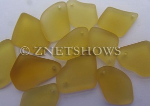Cultured Sea Glass top-drilled flat freeform mix Pendants  <b>varied</b> 16-Desert Gold   per  <b>12-pc-bag</b>