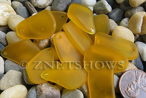 Cultured Sea Glass top-drilled flat freeform mix Pendants  <b>varied</b> 57-Saffron Yellow   per  <b>12-pc-bag</b>