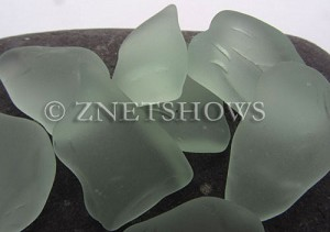 Cultured Sea Glass wire-wrapping Pendants  <b>varied</b> 88-Light Aqua `Coke` bottle Seafoam No Hole   per  <b>8-pc-bag</b>