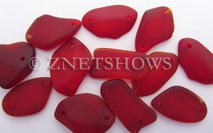 Cultured Sea Glass double-hole flat freeform mix Pendants  <b>varied</b> 05-Cherry Red   per  <b>12-pc-bag</b>