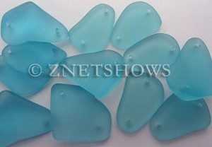 Cultured Sea Glass double-hole flat freeform mix Pendants  <b>varied</b> 28-Turquoise Bay   per  <b>12-pc-bag</b>