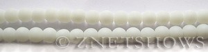 Cultured Sea Glass round Beads  <b>6mm</b> 42-Opaque White (32 pcs in 8-in-str)   per  <b>5-strand-hank</b>