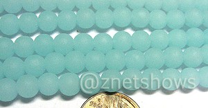 Cultured Sea Glass round Beads  <b>6mm</b> 881-Opaque Seafoam (32 pcs in 8-in-strand)   per  <b>5-str-hank</b>