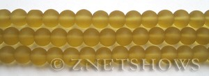 Cultured Sea Glass round Beads  <b>8mm</b> 16-Desert Gold    per  24 pcs in 8-in-str <b>5-str-hank</b>