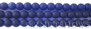 Cultured Sea Glass round Beads  <b>8mm</b> 33-Royal Blue    per  24 pcs in 8-in-str <b>5-str-hank</b>