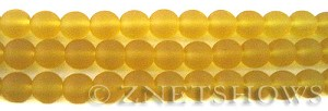 Cultured Sea Glass round Beads  <b>6mm</b> 84-Lemon (32 pcs in 8-in-str)   per  <b>5-strand-hank</b>