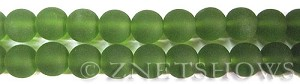 Cultured Sea Glass round Beads  <b>10mm</b> 22-Olive    per  19 pcs in 8-in-str <b>5-strand-hank</b>