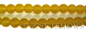 Cultured Sea Glass round Beads  <b>10mm</b> 84-Lemon    per  19 pcs in 8-in-str <b>5-strand-hank</b>
