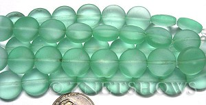 Cultured Sea Glass coin puffed Beads  <b>12mm</b> 89-Autumn Green (8-pc-str)(4-in-str)   per  <b>5-str-hank</b>