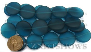 Cultured Sea Glass coin puffed Beads  <b>20mm</b> 82-Teal (5-pc-str)(4-in-str)   per  <b>5-str-hank</b>