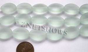 Cultured Sea Glass oval Beads  <b>18x13mm</b> 88-Light Aqua `Coke` bottle Seafoam 6-pc-str   per  <b>5-str-hank</b>