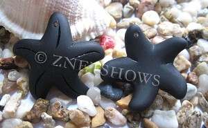 Cultured Sea Glass starfish large Pendants  <b>32mm</b>   02-Jet Black    per  <b>7-pc-bag</b>
