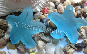 Cultured Sea Glass starfish large Pendants  <b>32mm</b>   30-Pacific Blue    per  <b>7-pc-bag</b>
