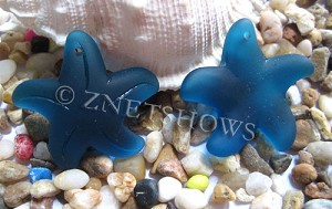 Cultured Sea Glass starfish large Pendants  <b>32mm</b>   82-Teal    per  <b>7-pc-bag</b>