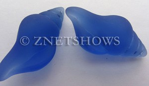 Cultured Sea Glass conch shell Pendants  <b>39x20mm</b> 31-Light Sapphire    per  <b>8-pc-bag</b>