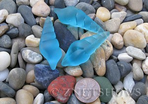 Cultured Sea Glass conch shell Pendants  <b>44x15mm</b> 28-Turquoise Bay earring size   per  <b>3-pc-bag</b>