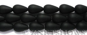 Cultured Sea Glass teardrop round Beads  <b>16x10mm</b> 02-Jet Black (12-pc-str)   per  <b>8-in-str</b>