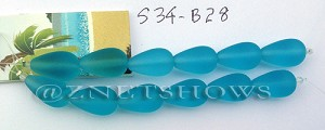 Cultured Sea Glass teardrop round Beads  <b>16x10mm</b>  28-Turquoise Bay (2-str-card)    per  <b>3-card-bag</b>