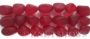 Cultured Sea Glass nugget Beads  <b>10-15mm</b>  05-Cherry Red (7-pc-str)   per  <b>5-strand-hank</b>