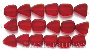 Cultured Sea Glass freeform flat Beads  <b>13-16mm</b> 05-Cherry Red (4-in-str)(6-pc-str)   per  <b>5-str-hank</b>