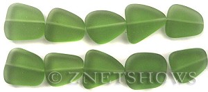 Cultured Sea Glass freeform flat Beads  <b>18-22mm</b> 25-Shamrock (4-in-str)(5-pc-str)   per  <b>5-str-hank</b>