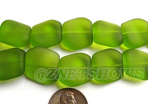 Cultured Sea Glass square nugget Beads  <b>18x17mm</b> 22-Olive (12-pc-strad)   per  <b>8-in-str</b>